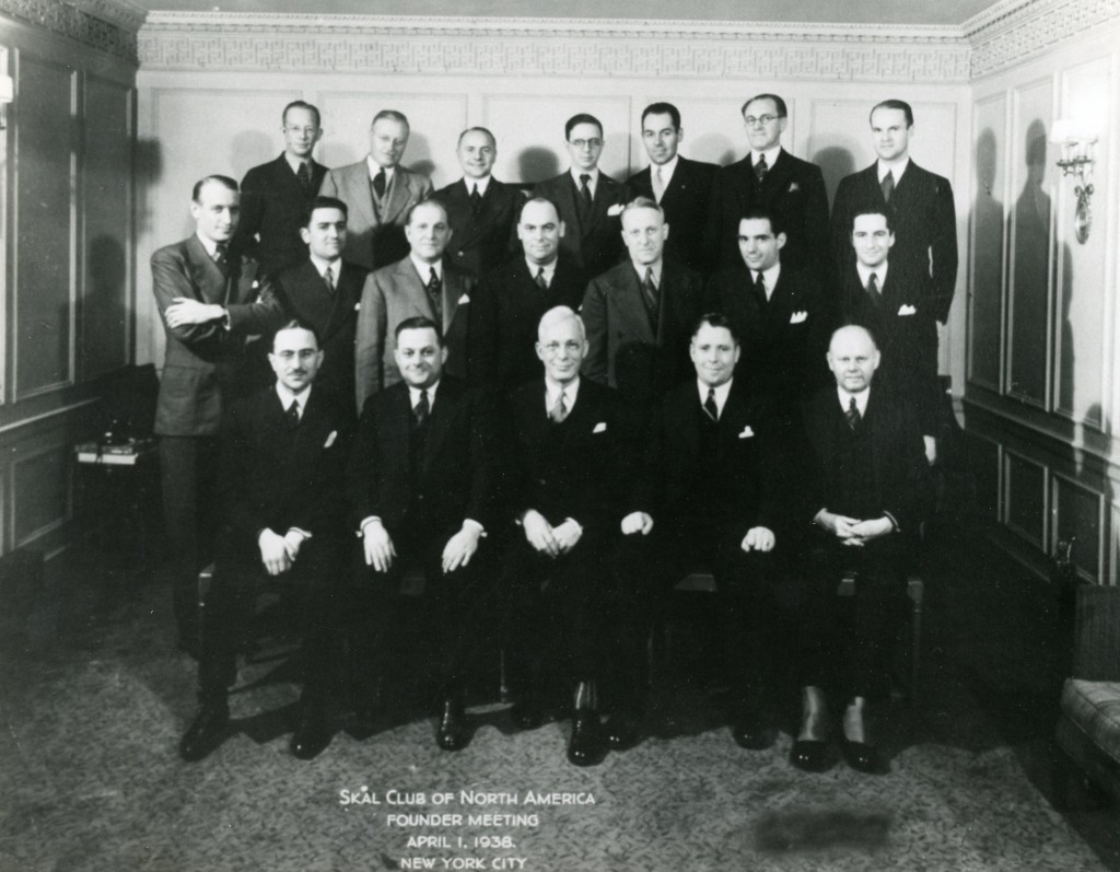 Founding Fathers: Charter members of N.Y. Skå Club, Show at first meeting on April 1, 1938. (Affiliations are as of that date.) First Row: Maxime Meisell, French Railways; Bill Mcgrath, Anchor Line; Carl Estabrooke, Thomas Cook, First President; Chas. Fisher, Pickford's Travel; Ed Tietze, Raymond Whitcomb. Middle Row: H. Leipoldt, German Tourist Office; Chris Mohn, Norwegian Shipping; Russel Grant, N.Y. Centrail R.R.; Godfrey Macdonald, Grace Line; Stephen Goerl, Stephen Goerl Assoc.; Leon Morrier, United Air Lines. Top Row: Birger Nordholm, Swedish Tourist Office; Stanley Bliss, American Express; Paul Bewshea, B.O.A.C.; Jos. Tieri, C.I.T.; Chas. Humbert, Humbert Travel; Krute Olsen, Norwegian Railway; Dick Lounsbury, Pan American Airways.