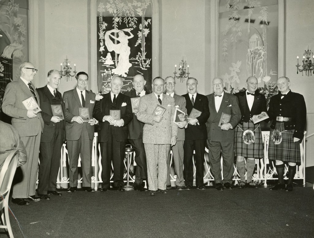 Left to Right: 1958: Henry E. Pillichody; 1957: Kenneth F. Gautier; 1955: Leon C. Morrier; 1952: Charles R. Van Horn; 1953: Thomas L. Williamson; 1947: James N. Findlay; 1950: George Hanson; 1948: Ivan Bullot; 1946: Cornelius M. de Jong; 1940 & 1943: Godfrey Macdonald; 1959: Thaddeus Hyatt