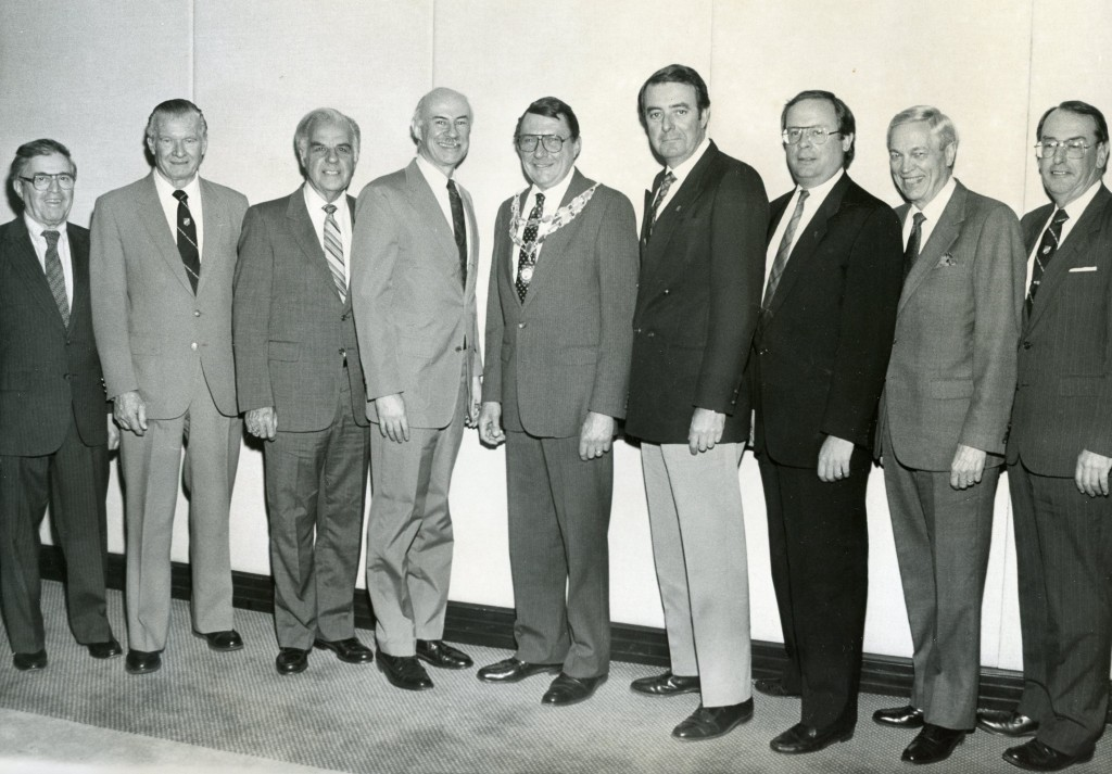 Taken: March 23, 1989 at the Pierre Hotel Left to Right: Dick Lowenstein, Jack Candy, Mike Perez, Ed Nelowet, Al Koaletta [President], Ronald Dillon, [VP], Steve Wakeman [Treasurer], Dave Landuyt, Charlie Powers [Assistant Secretary/Treasurer]